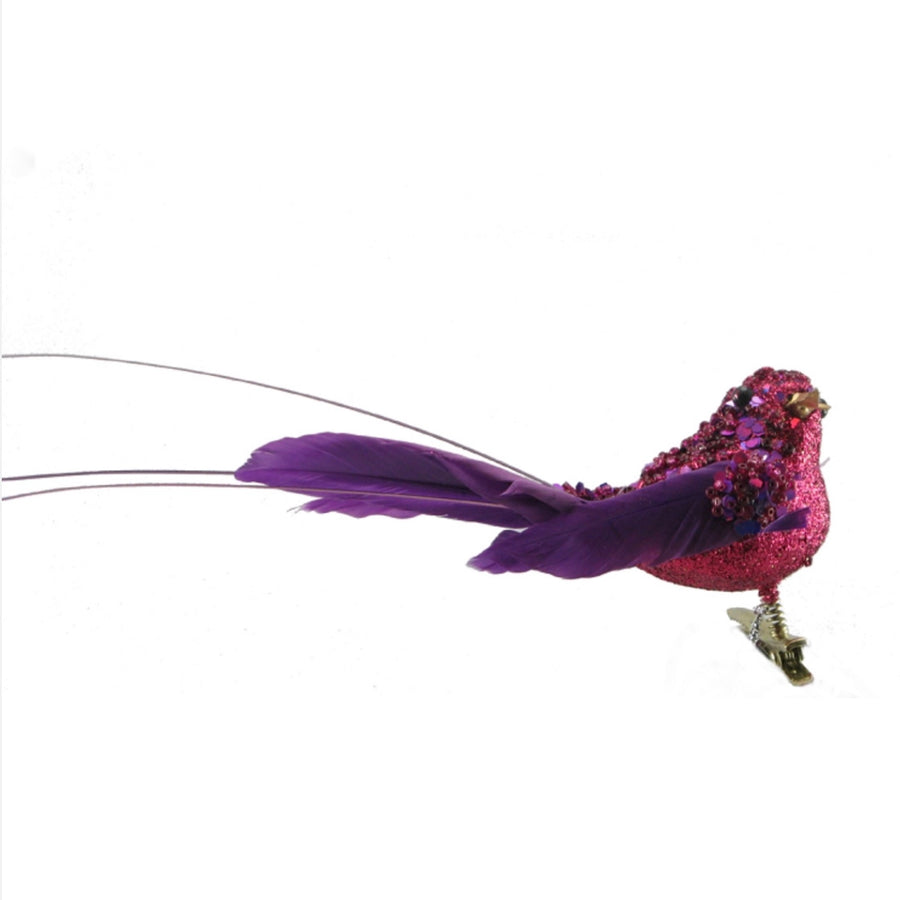 Small Beaded Feather Bird with Clip - Hot Pink and Purple