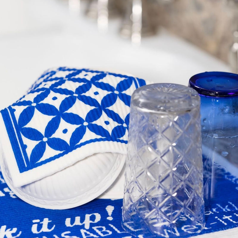 Wet it! Blue Tile Swedish Cloth | Putti Fine Furnishings