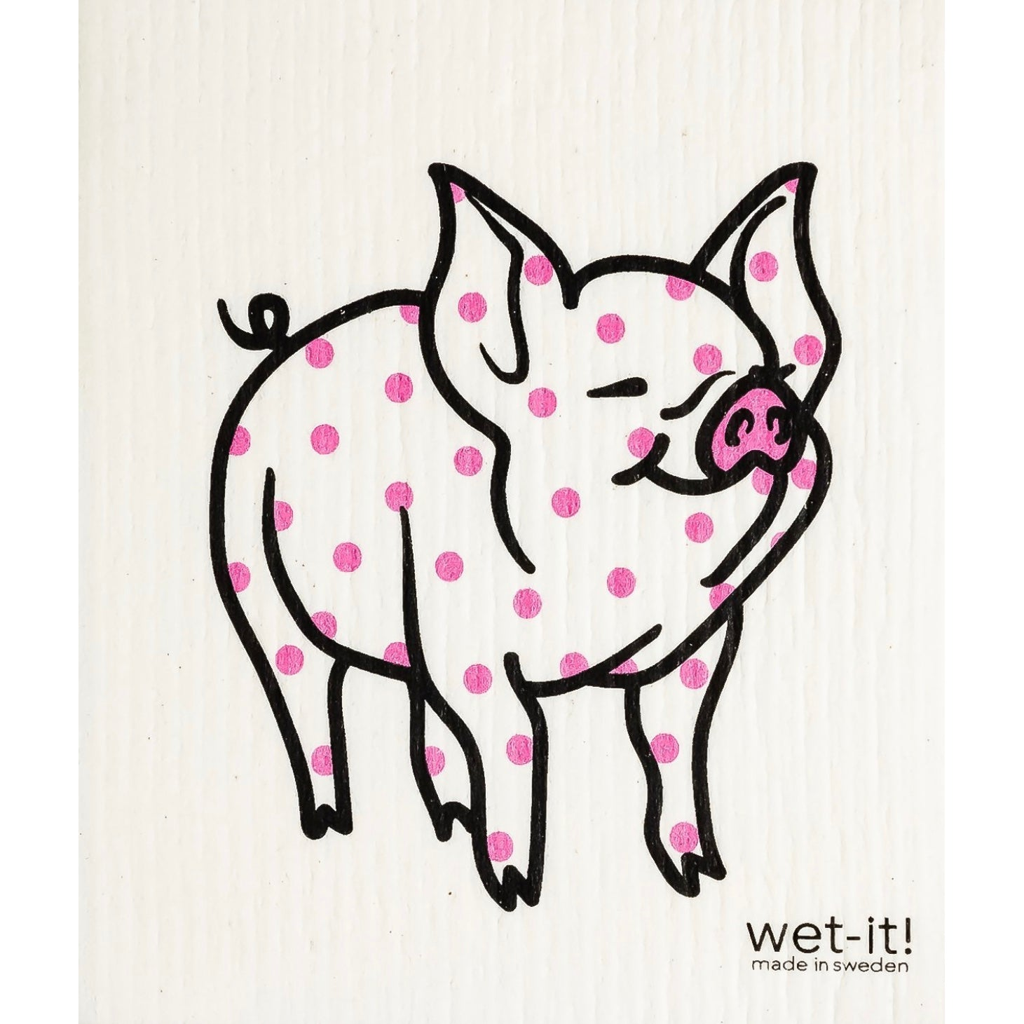 Wet it! Pink Polka Dot Pig Swedish Cloth