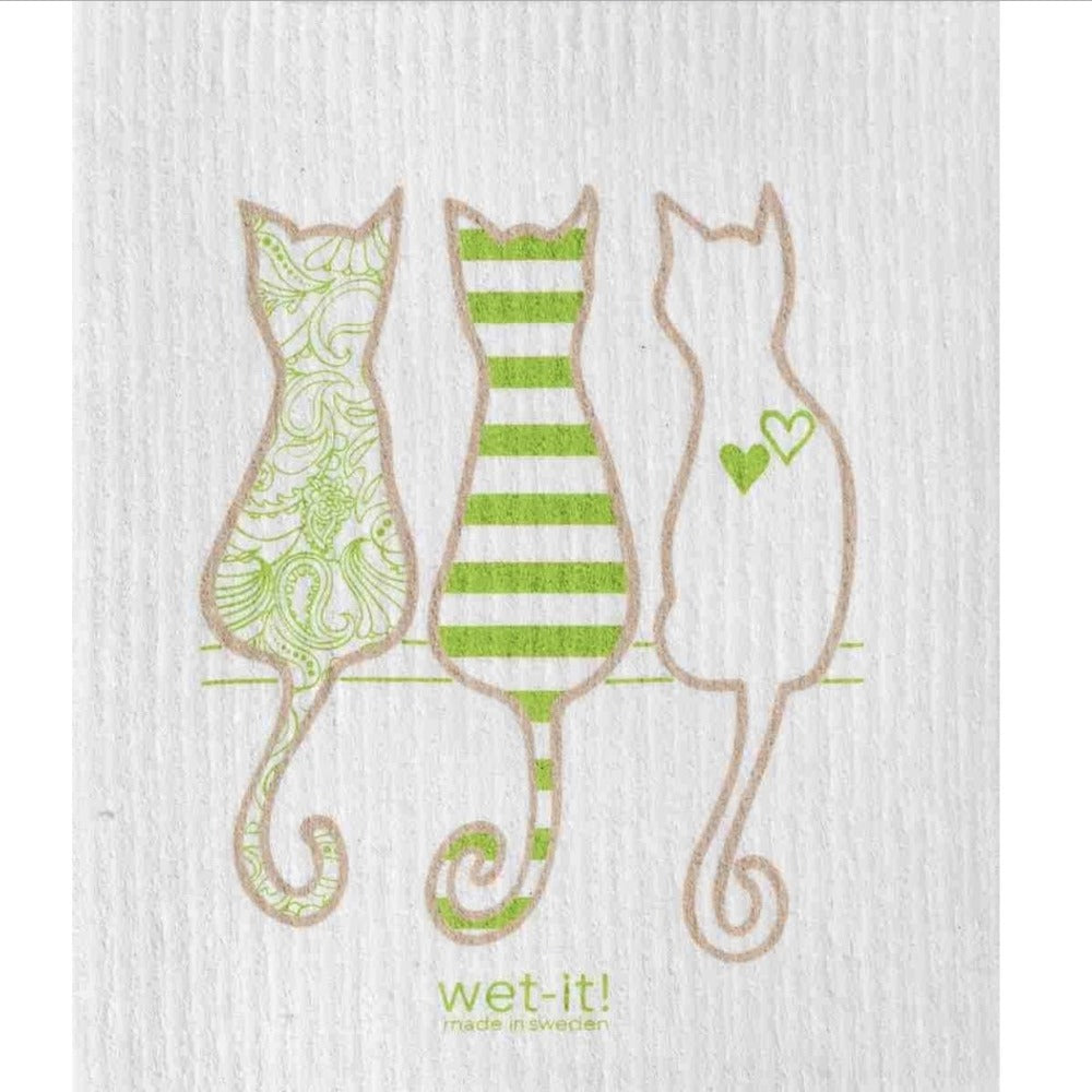 Wet it! Pastel Cat Lover Swedish Cloth | Putti Fine Furnishings Canada