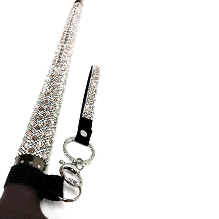 """Sugar Cane"" Adjustable Aluminum Rose Gold Crystal Medical Cane 