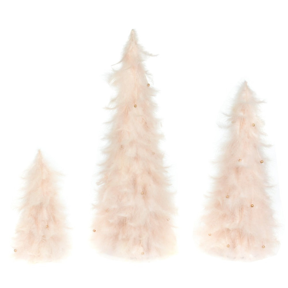 Pink Feather Conne Trees | Putti Christmas Decorations
