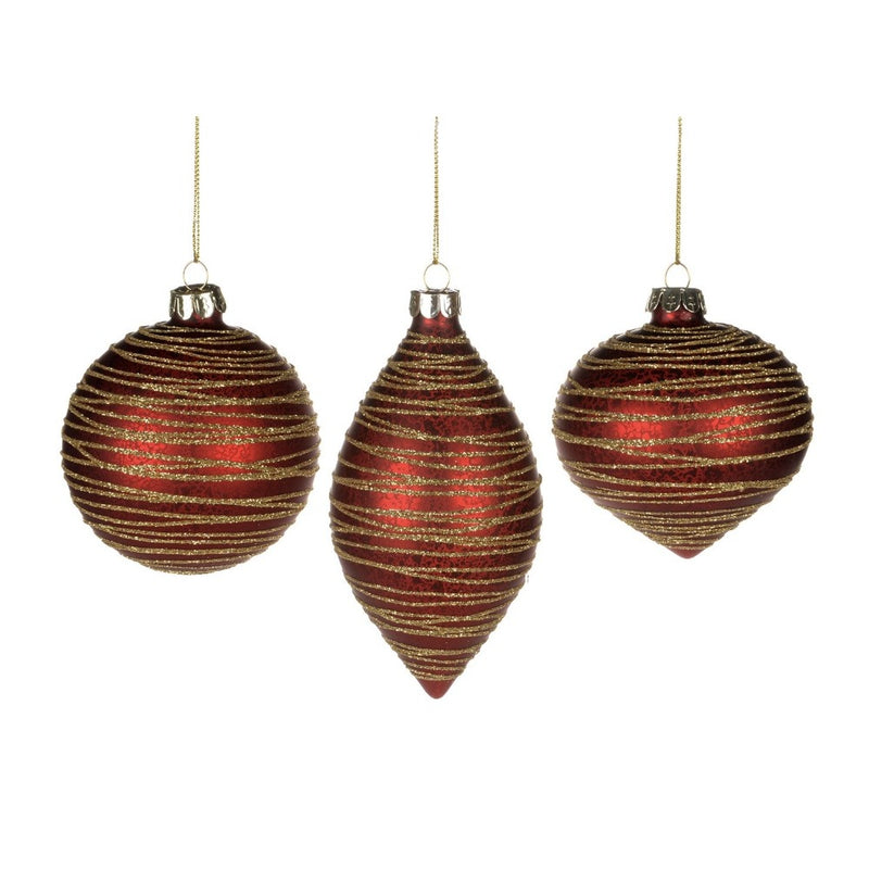Red with Gold Glittered Lines Glass Ornaments | Putti Christmas Canada