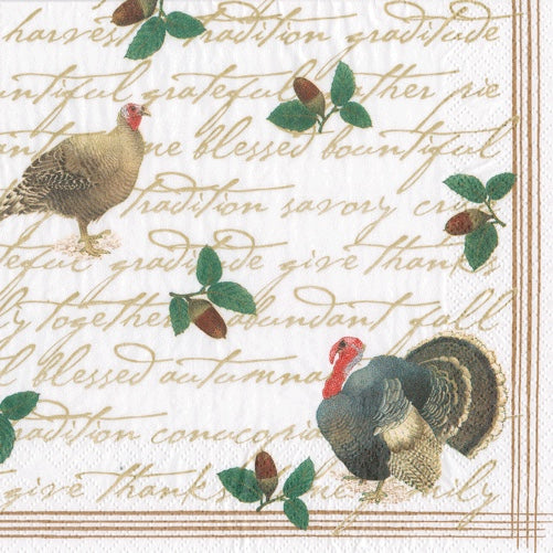 Caspari Founders Thanksgiving Paper Napkin - Dinner  Putti Celebrations
