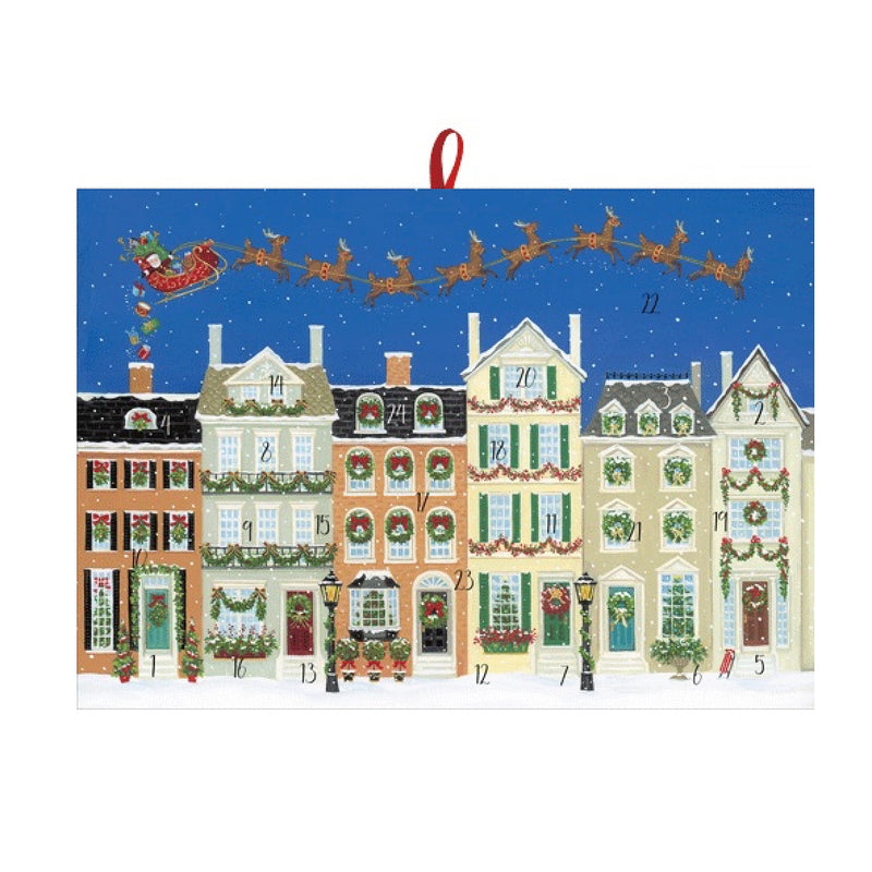 "Caspari ""Santa Delivering Gifts"" Medium Advent Calendar 