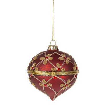 Red and Gold Flourish Trinket Box Ornament | Putti Christmas