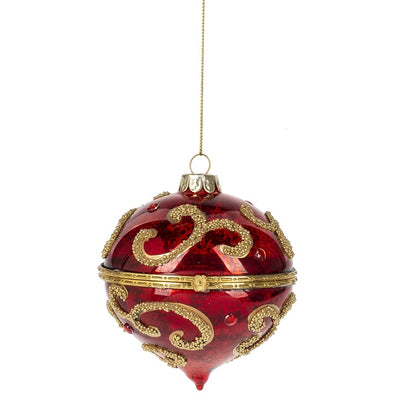 Red and Gold Flourish Trinket Box Ornament - Scroll