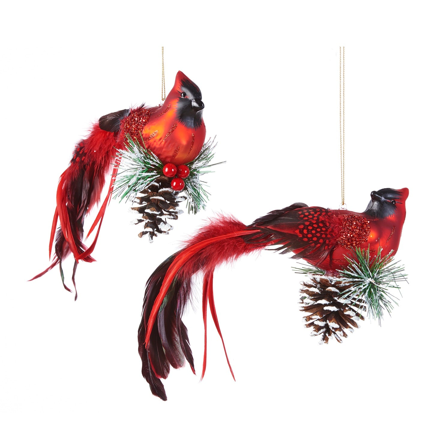 Cardinal Bird on Pinecone Ornament