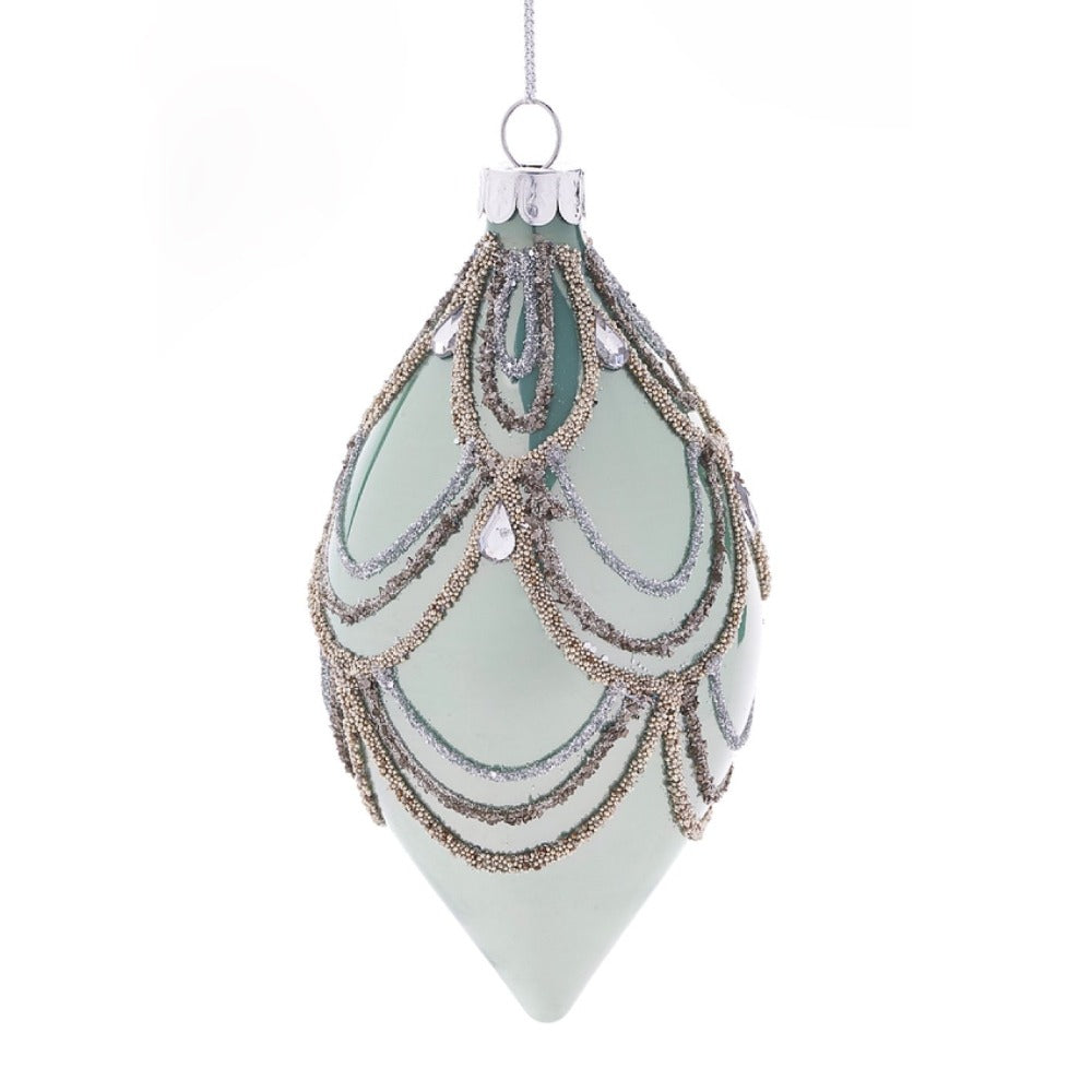 Sage Green with Swags Glass Ornament - Double Point