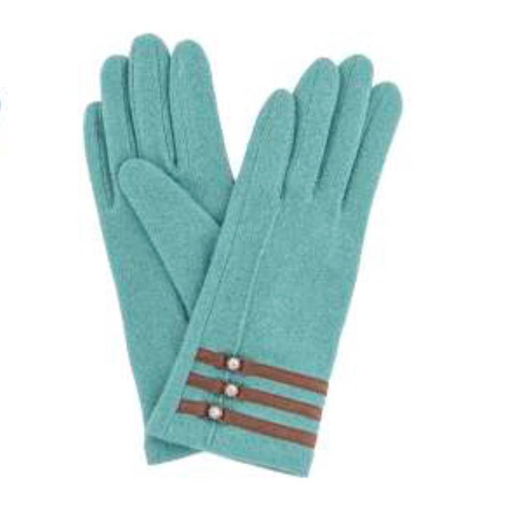 "Powder ""Suzy"" Wool Gloves -Sea Green, PDL-Powder Design Limited, Putti Fine Furnishings"