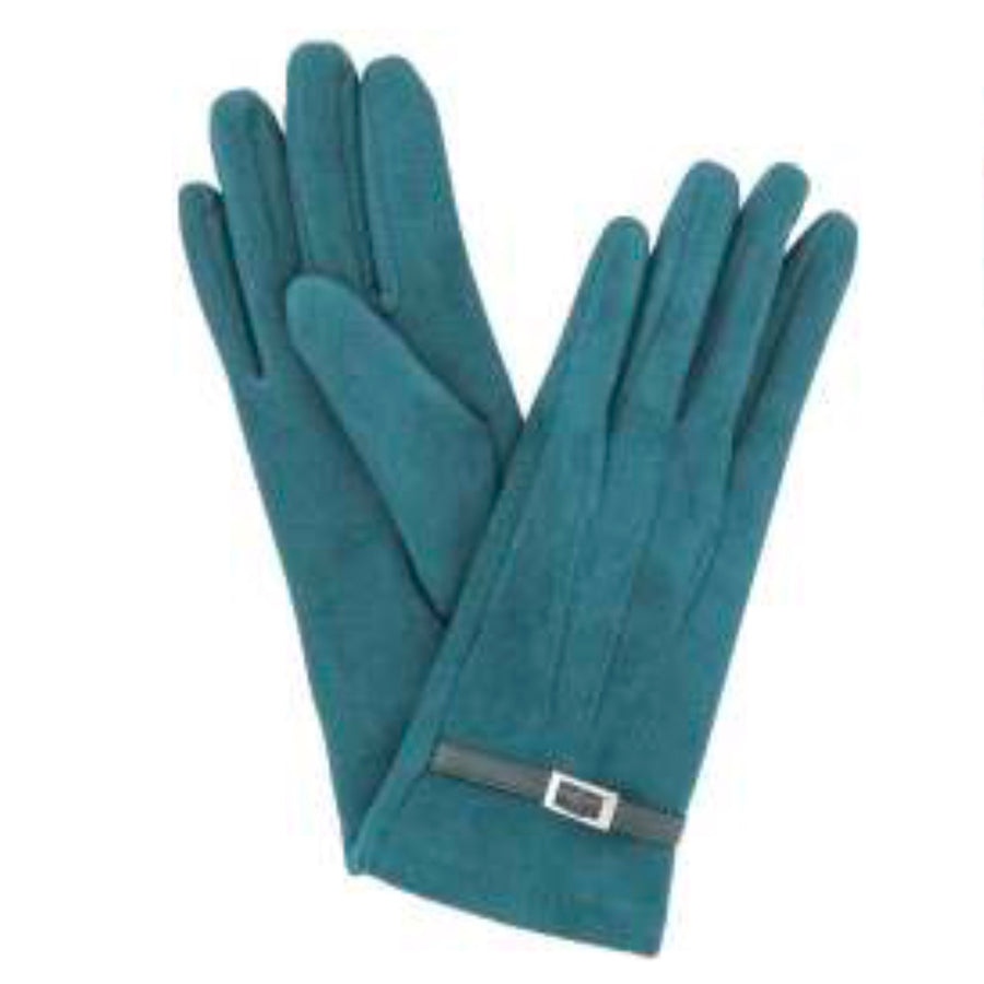 "Powder ""Alicia"" Faux Suede Gloves - Teal"