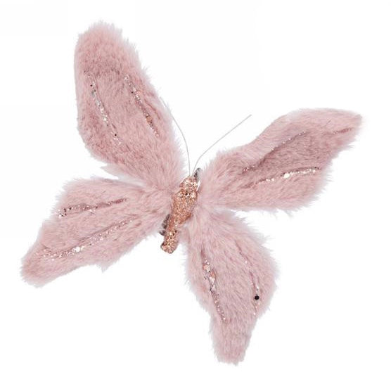 Pink Fur Butterfly with Clip | Putti Christmas Canada