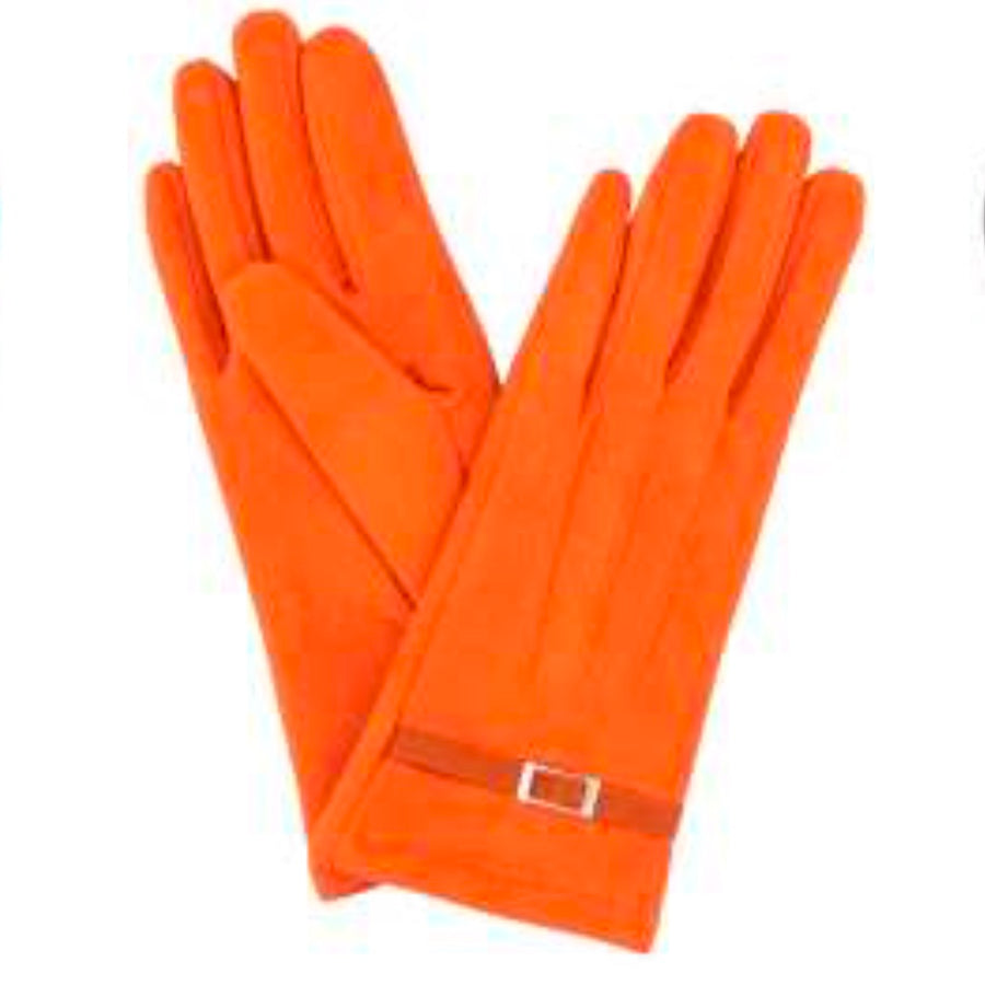"Powder ""Alicia"" Faux Suede Gloves - Tangerine"