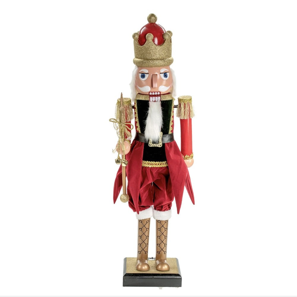 Red Gold Fabric Standing Musical Animated Nutcracker | Putti Christmas