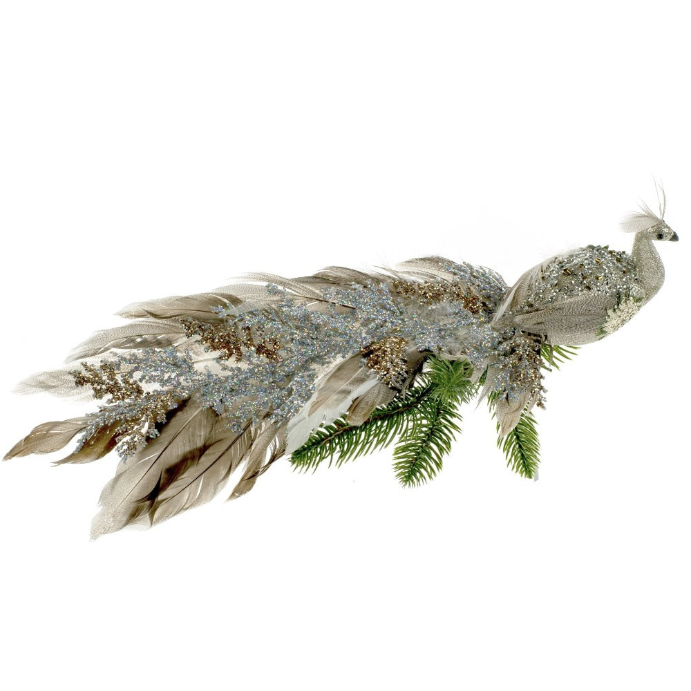Brown and Silver Feather Peacock with Clip | Putti Christmas Celebrations