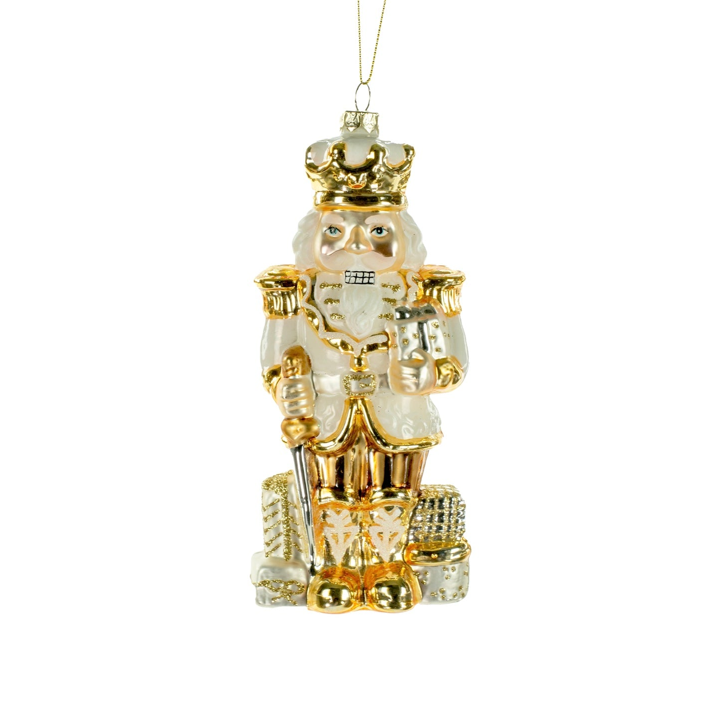 Gold and White Glass Nutcracker Ornament