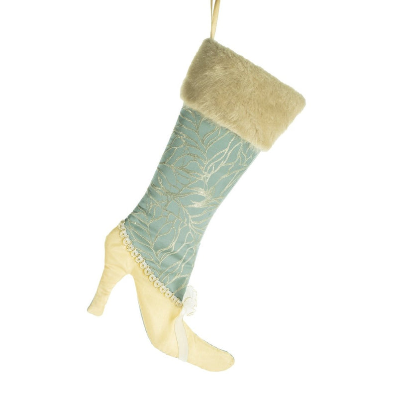 Aqua with Ivory Fur Cuff Christmas Stocking | Putti Christmas Celebrations