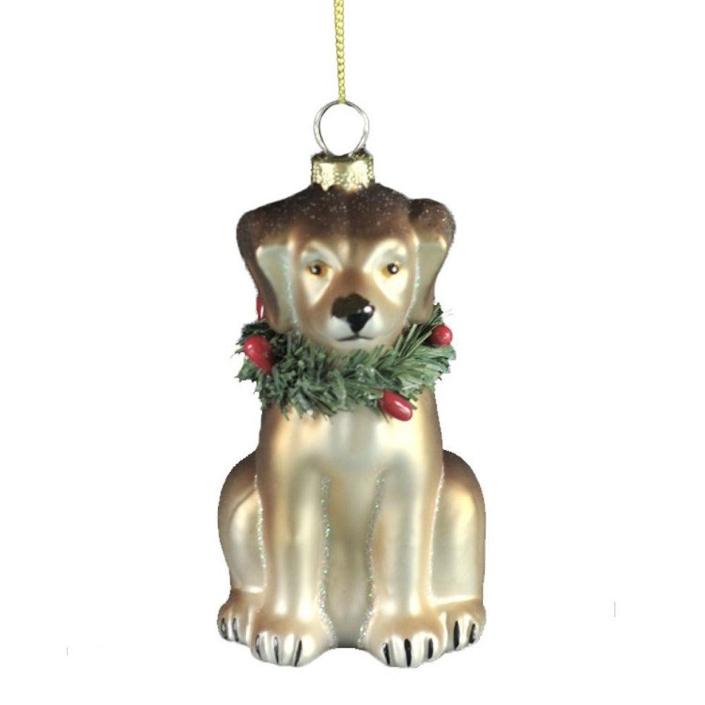 Dog with Wreath Glass Ornament | Putti Christmas Celebrations