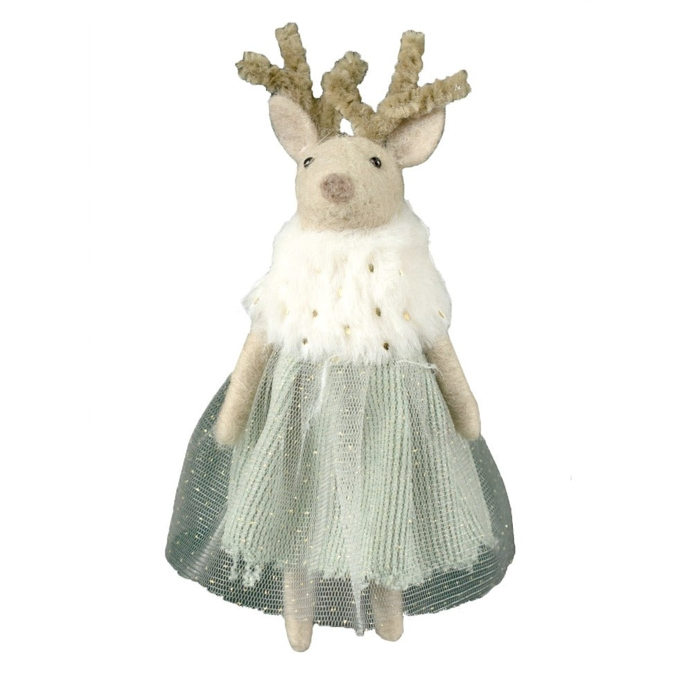 Standing Deer Ornament with Tulle Dress | Putti Christmas Canada