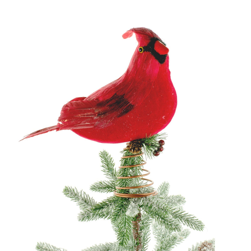 Large Red Cardinal Feather Bird Christmas Tree topper