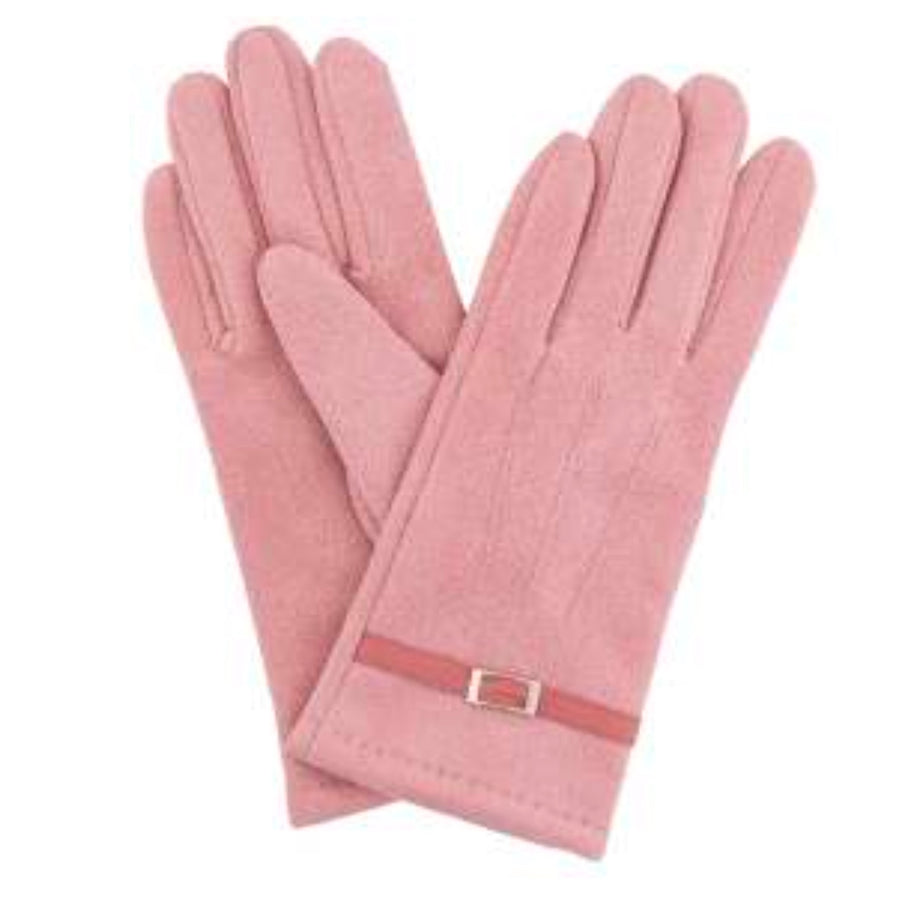 "Powder ""Alicia"" Faux Suede Gloves - Candy Pink"