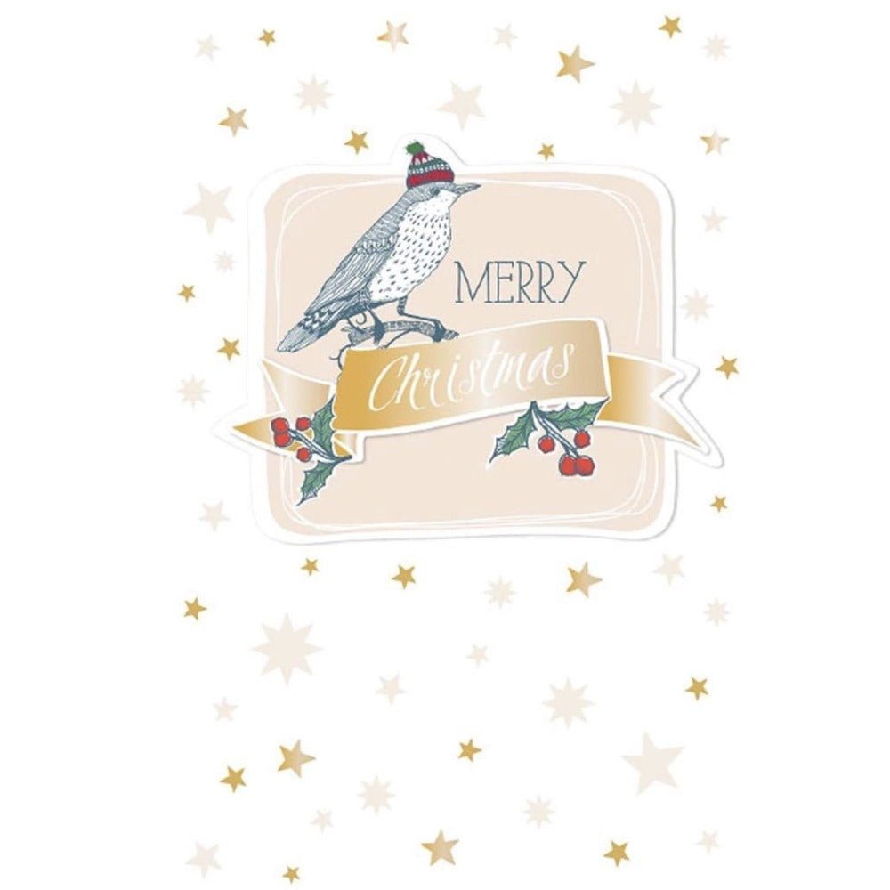 "Artebene ""Merry Christmas"" Bird and Stars Greeting Card 