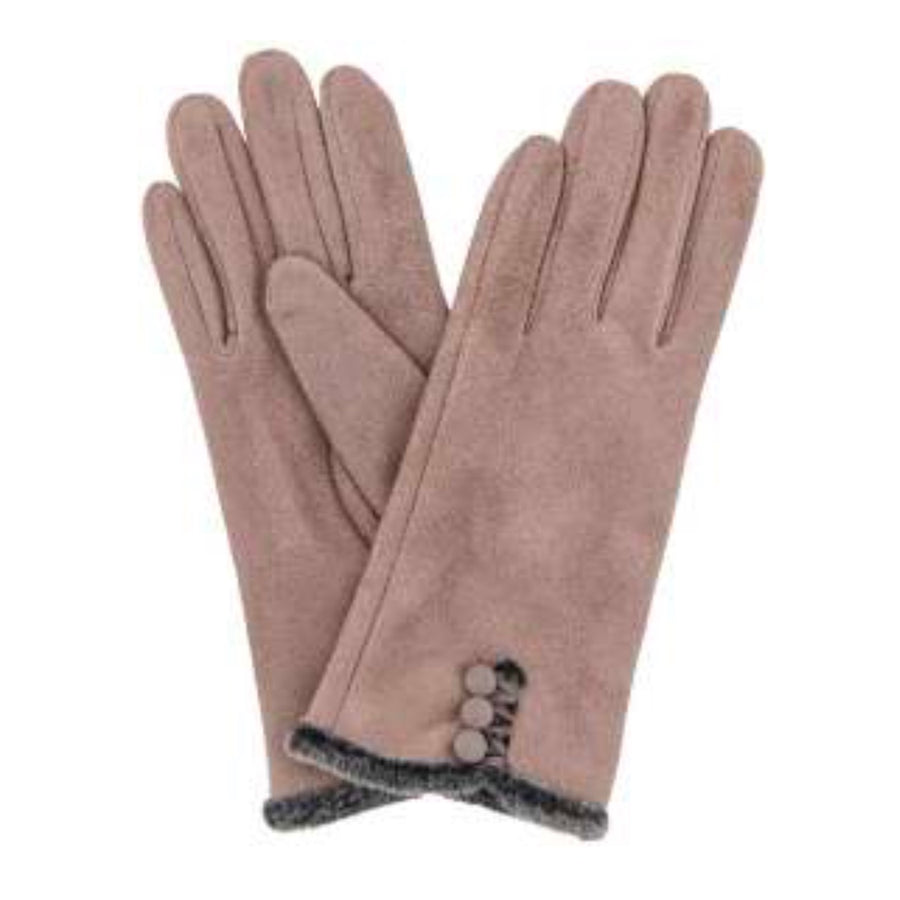 "Powder ""Amanda"" Faux Suede Gloves - Stone"