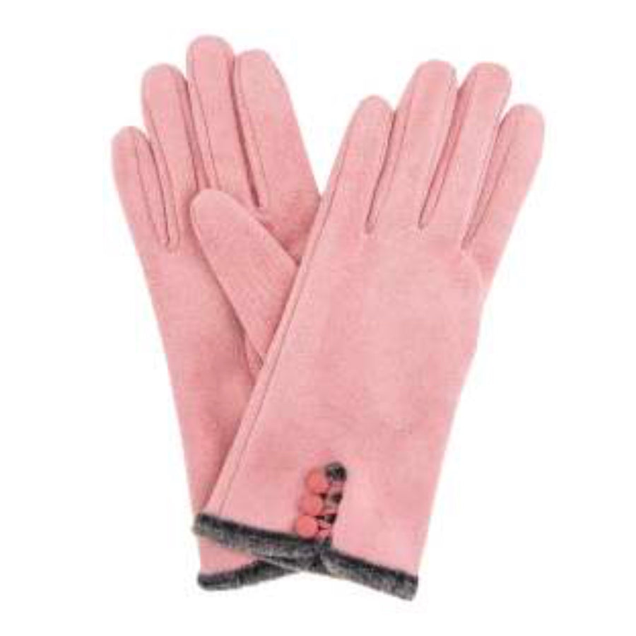 "Powder ""Amanda"" Faux Suede Gloves - Candy Pink"