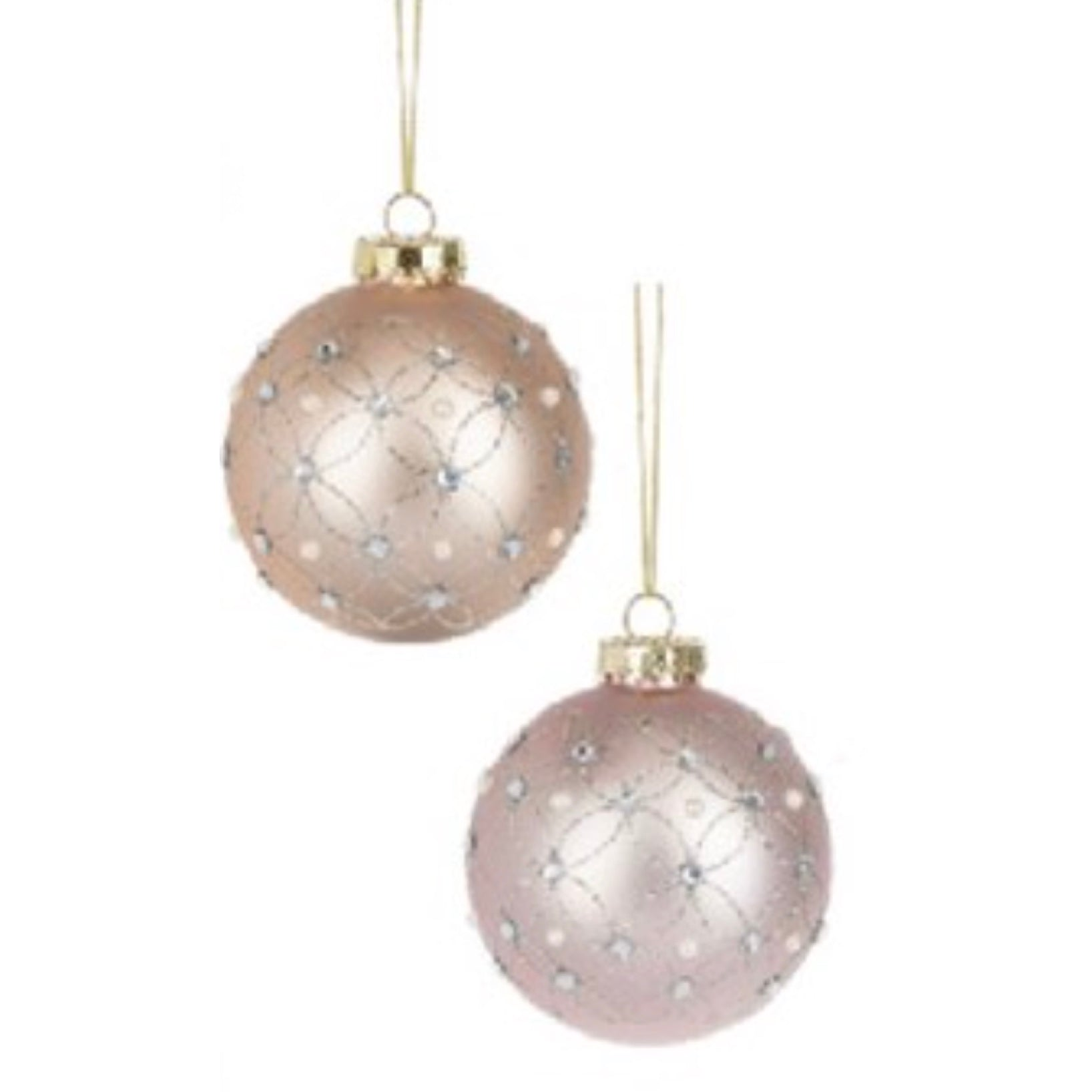 Blush Pink Glass Ball Ornament with Crystals & Pearls