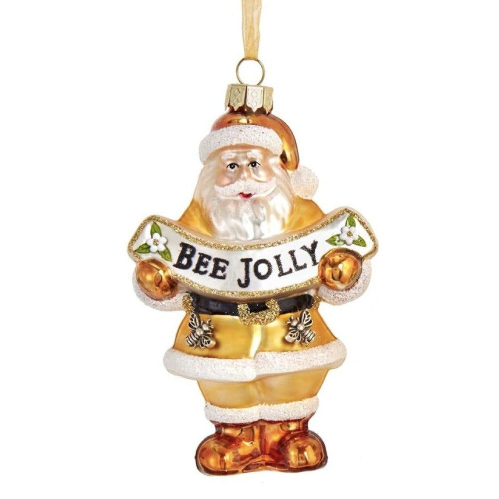 "Kurt Adler ""Be Jolly"" Santa Glass Ornament 