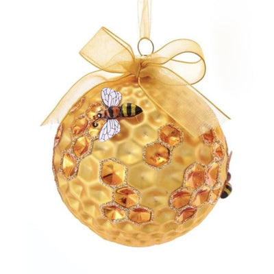 Kurt Adler Honeycomb Bee Glass Ball Ornament | Putti Christmas