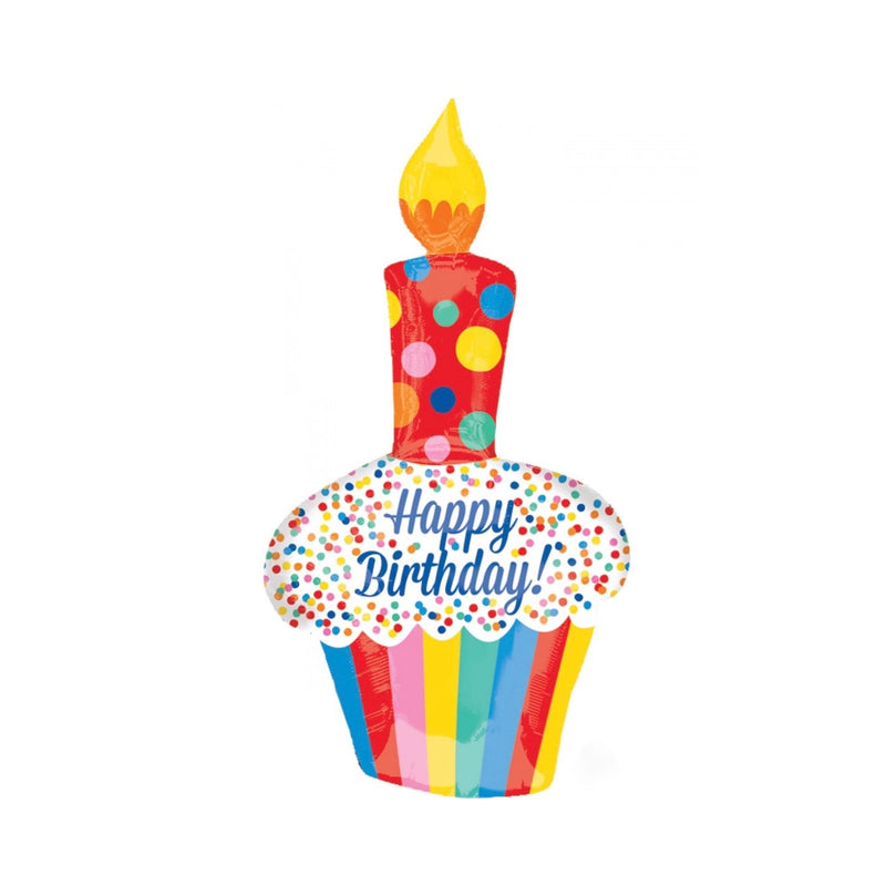 Rainbow Birthday Cupcake Mylar Balloon, SE-Surprize Enterprize, Putti Fine Furnishings