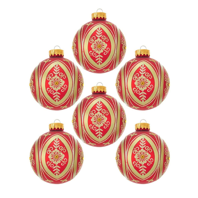 Red and Gold Fancy Glass Ball Ornaments - 6 Piece Box Set