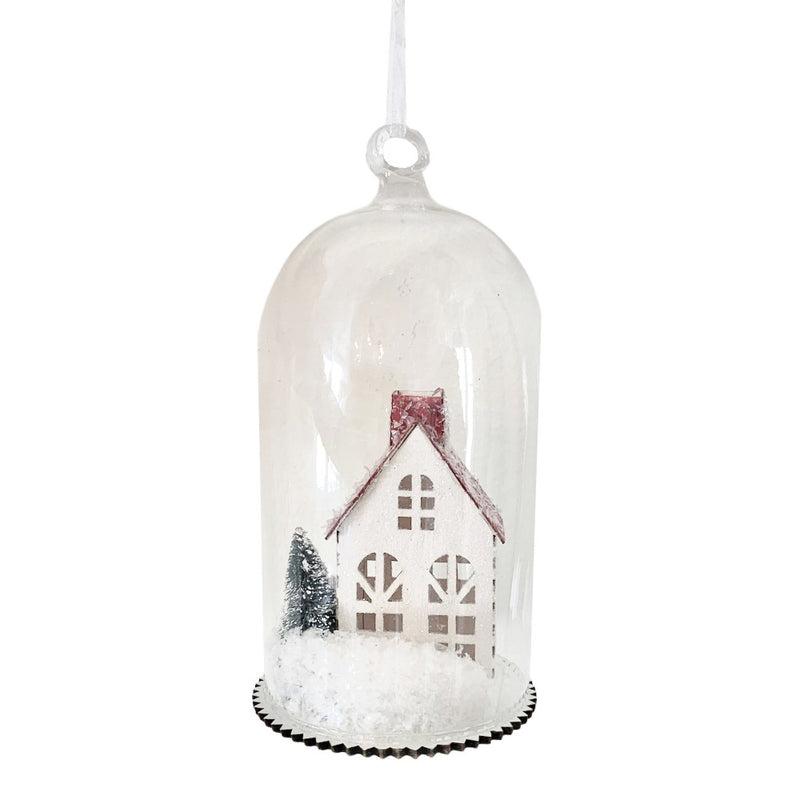 Glass Cloche with Vintage Red House Ornament