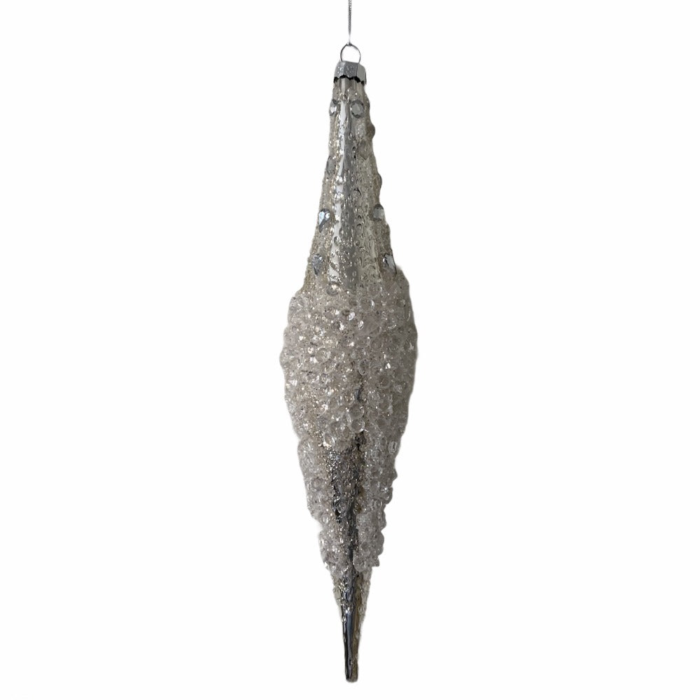 Iced Silver Glass Icicle Ornament