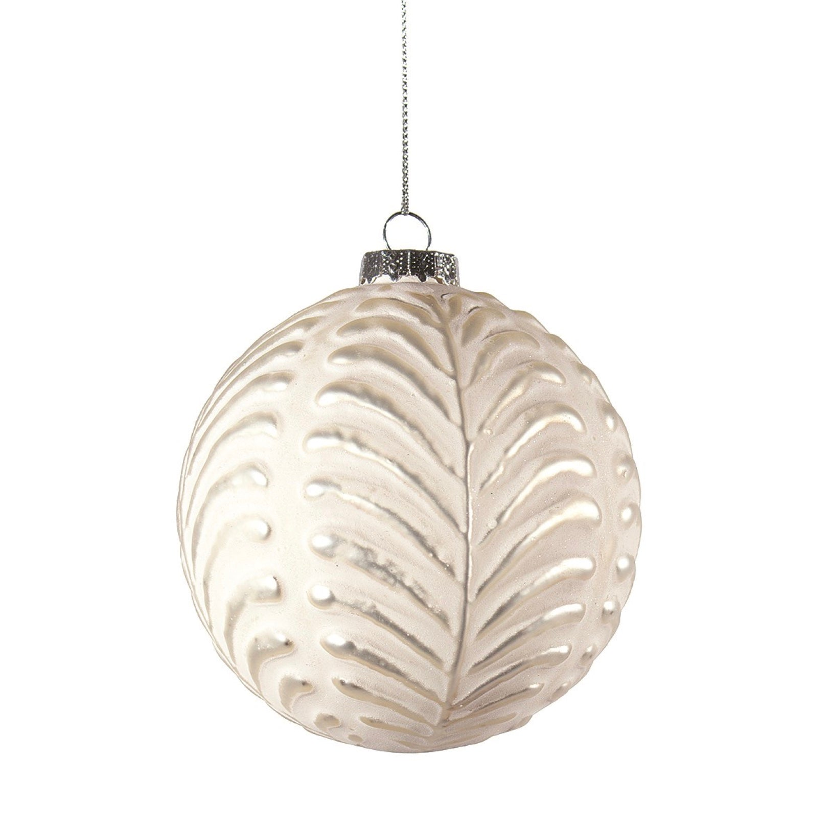 Matte White with Silver Leaf Glass Ornament