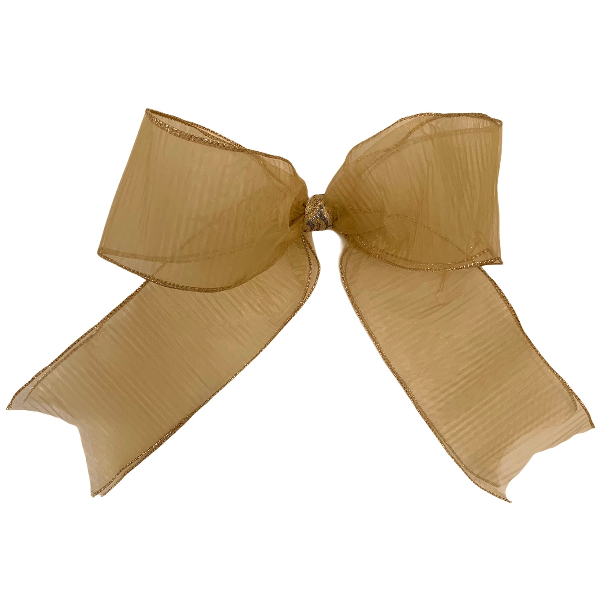 Gold Organza Pleated Wired Ribbon Bow