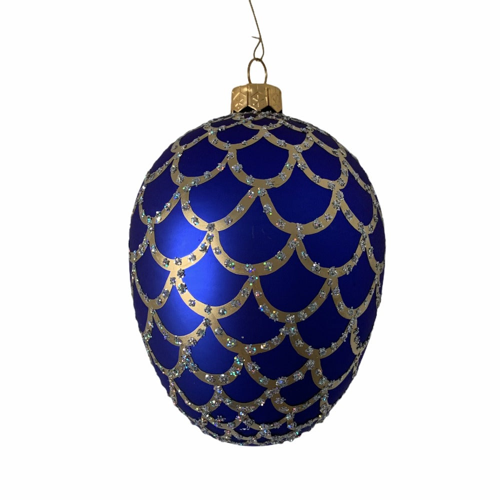 Cobalt Blue with Scales European Glass Egg Ornament