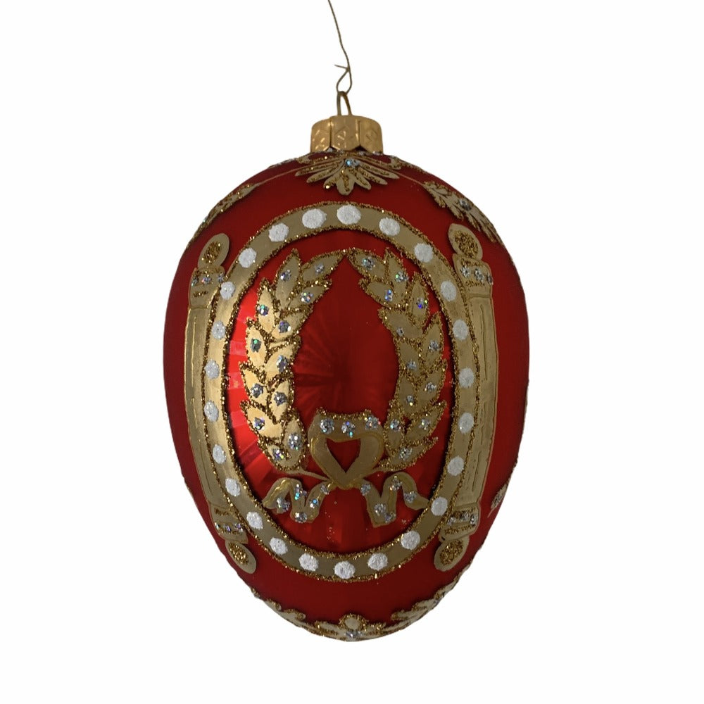 Red with Laurel Leaf European Glass Egg Ornament
