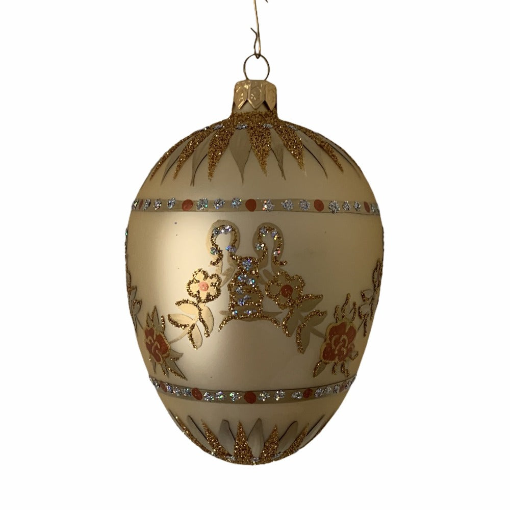Gold with Rose Garlands European Glass Egg Ornament
