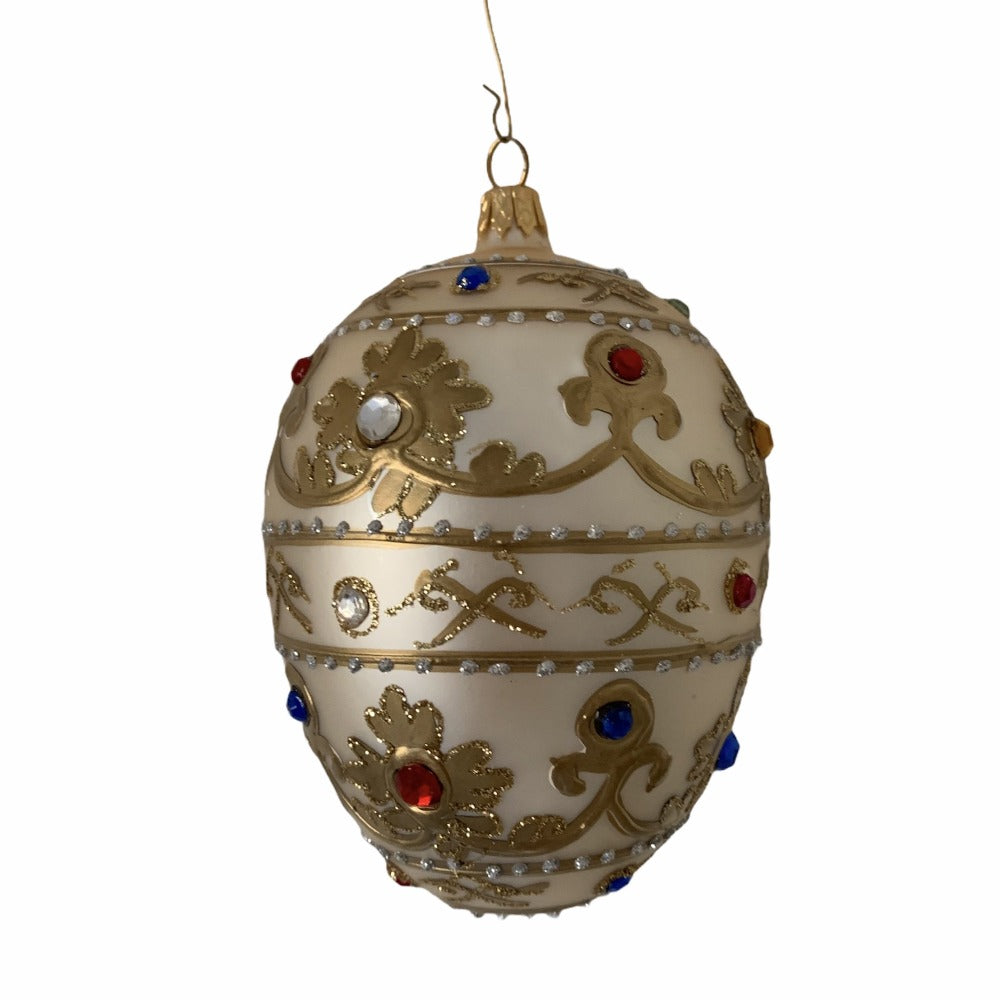 White with Jewels Glass Egg Ornament | Putti Christmas