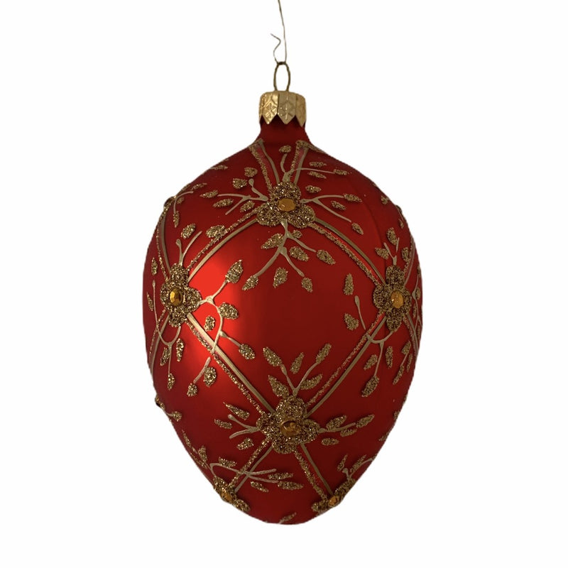 Faberge Red with Trellis Glass Egg Ornament