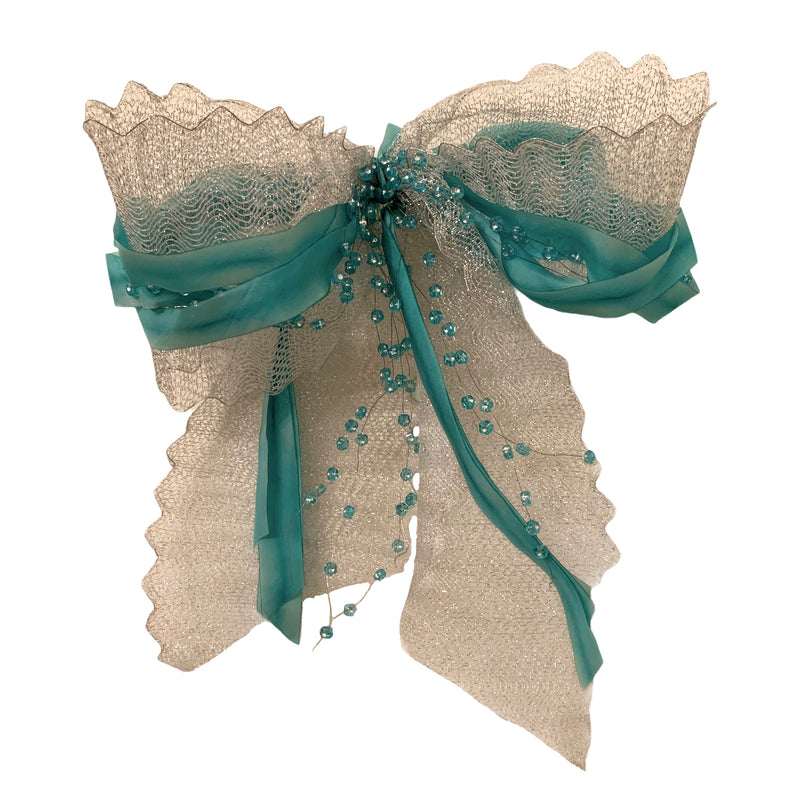 Aqua Silk and Silver Mesh Bow