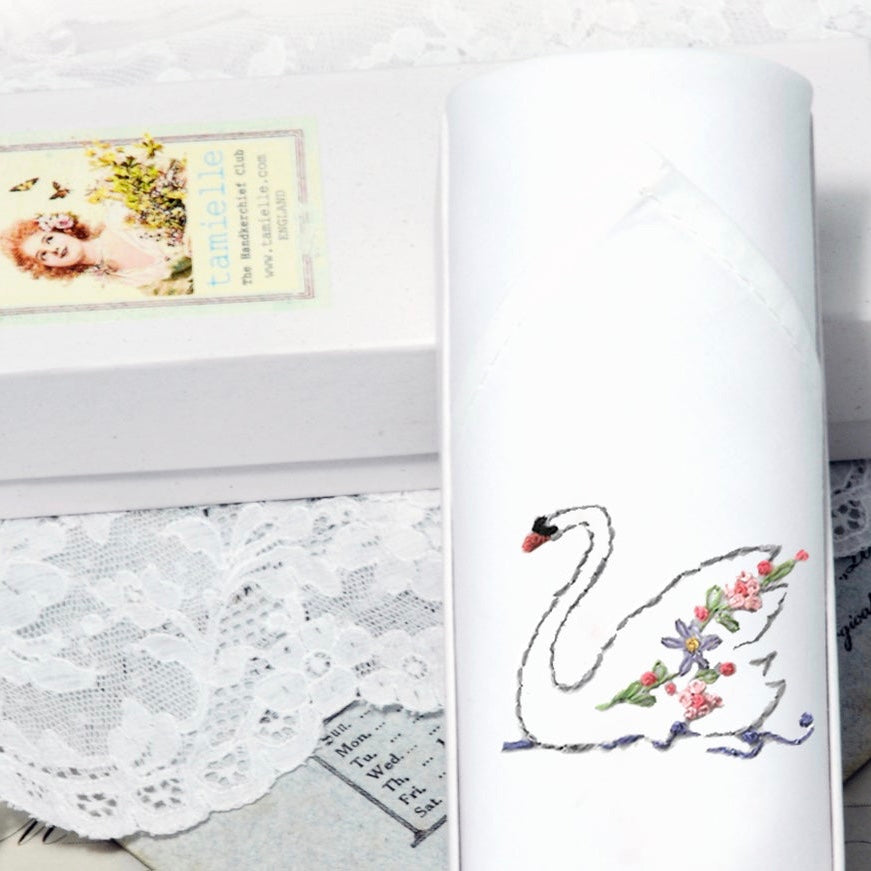 "Tamielle ""Swan"" Embroidered Hanki 