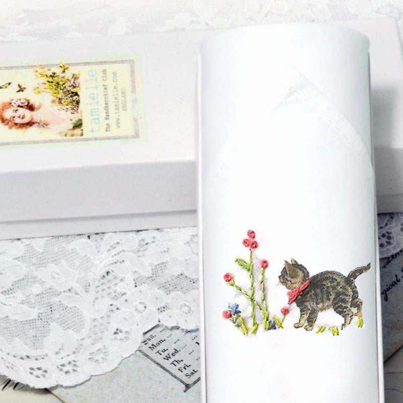 "Tamielle ""Sweet Kitten""Embroidered Hanki 
