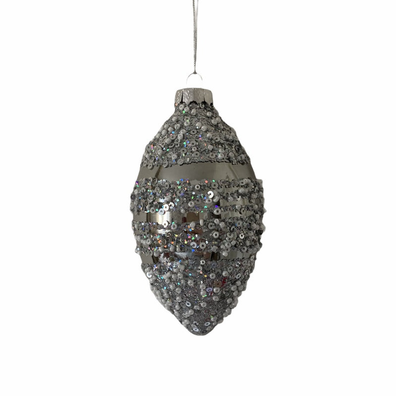 Silver with White Beads Glass Ornament  - Double Point