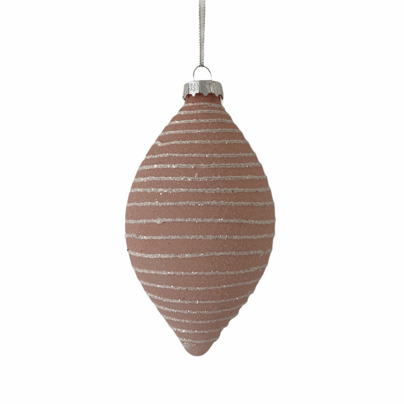 Frosted Pink with White Bands Glass Ornament  - Double Point