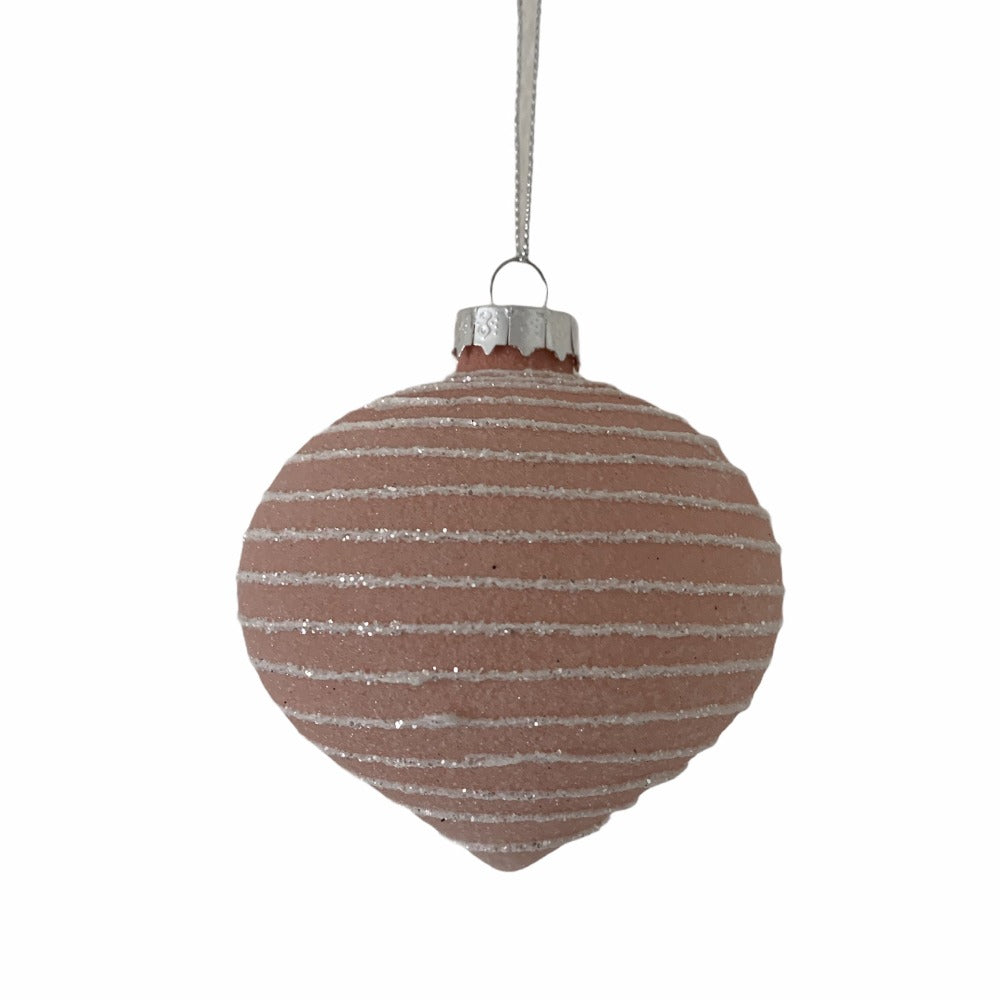 Frosted Pink with White Bands Glass Ornament  - Onion