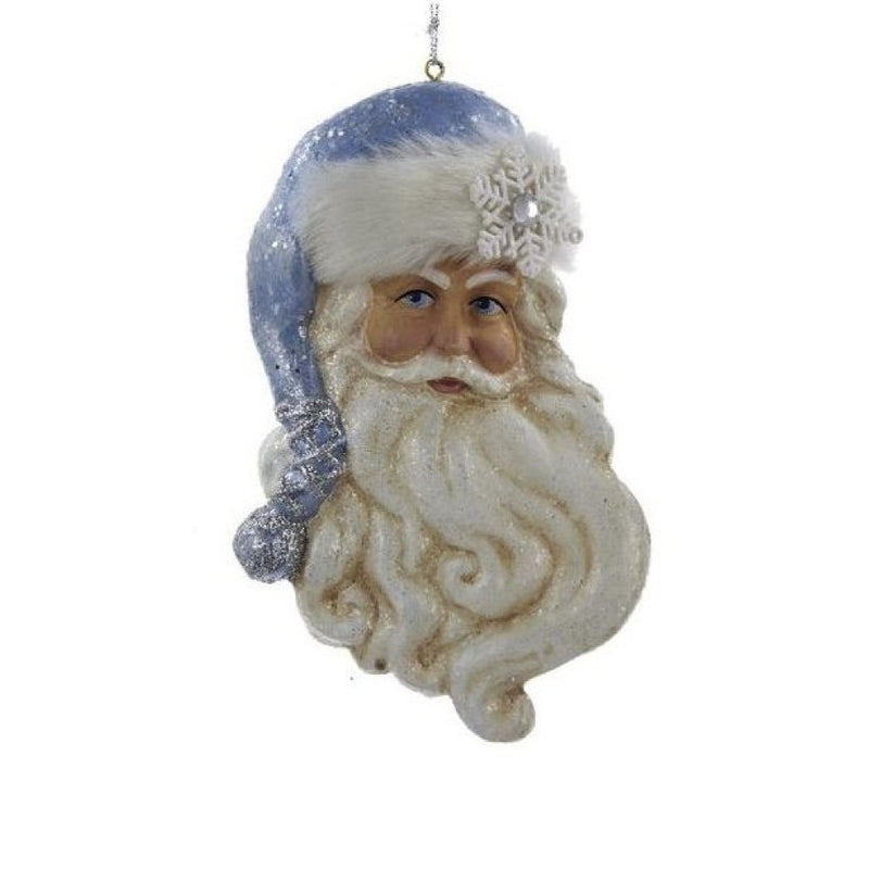 Kurt Adler Frosted Kingdom Santa Head Ornament