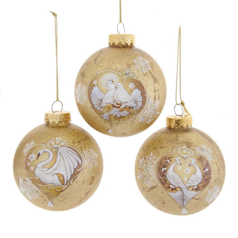 Kurt Adler Gold Swan, Dove, and Peacock Ornaments - 6 Piece Box Set